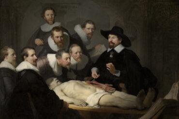 """Rembrandt Harmensz van Rijn, """"De anatomische les van Dr. Nicolaes Tulp"""", 1632 (collectie Mauritshuis, Den Haag)."""