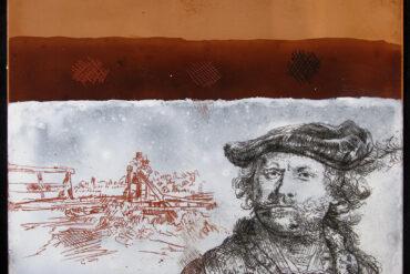 Deze koperplaat is gemaakt als onderdeel van de upgrade van de etsdemonstraties in Museum het Rembrandthuis 2018. Bij de uitleg over de etstechniek komt deze koperplaat aan bod als er vragen zijn over specifieke etstechnieken van Rembrandt. Bovenste laag: koperplaat. Middelste laag: de etsgrond. Onderste laag: de witte etsgrond met rood en zwart krijt.
