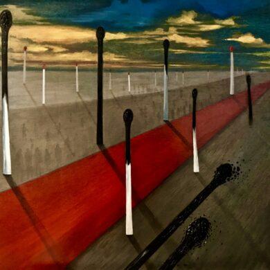 """Pablo Ponce, """"Landschap met rode lijn"""", 2019, olieverf op paneel, 73 x 55 cm."""