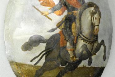 Portret van Frederik Hendrik te paard, anoniem, in of na 1631, olieverf op schildpadschild, 114 x 100 x 30 cm (NG-NM-2970, Rijksmuseum).