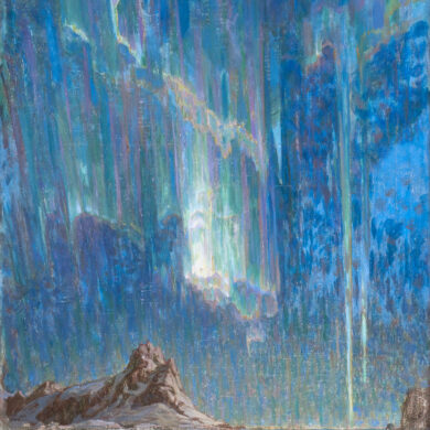 """Anna Boberg (1864-1935), """"Northern Lights, Study from North-Norway"""", olieverf op doek, 97 x 75 cm (collectie Nationalmuseum, Oslo)."""