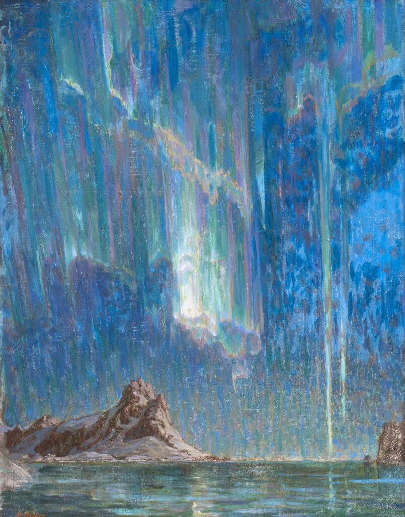 "Anna Boberg (1864-1935), ""Northern Lights, Study from North-Norway"", olieverf op doek, 97 x 75 cm (collectie Nationalmuseum, Oslo)."