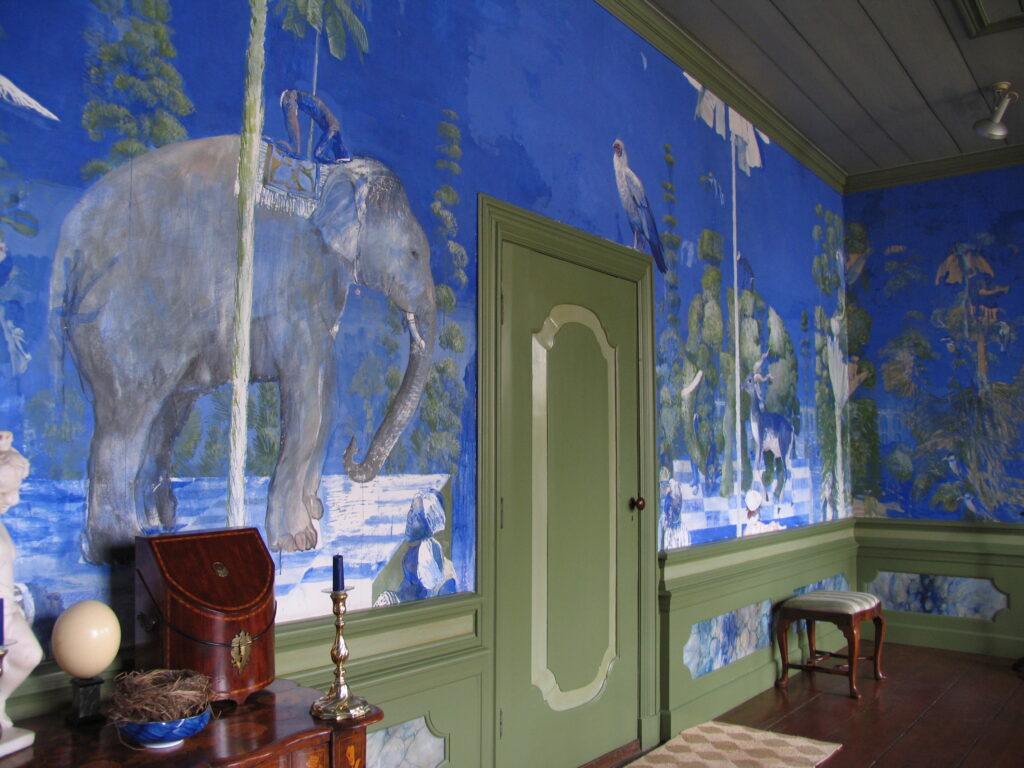 Wandschildering in de Blauwe kamer (foto's: Pieter Jan Kuiken).